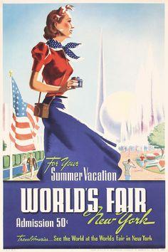 Original Vintage 1939 New York World's Fair Poster SMIT