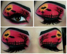 Halloween Eyeshadow, Halloween Face Makeup, Eye Makeup, Hair Makeup, Makeup Stuff, Red Eyeshadow Look, Halloween Make Up, Halloween Ideas, Dramatic Makeup