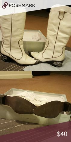 Boots White Cowgirl Boots with Blades worn twice Michael Shannon Shoes Heeled Boots