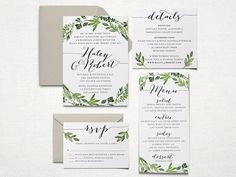 This listing is for a printable wedding invitation suite in a high resolution PDF format. This ready-to-print, personalized, digital wedding invitation suite features a water-colored botanical wreath design. Perfect for a garden or boho inspired wedding!