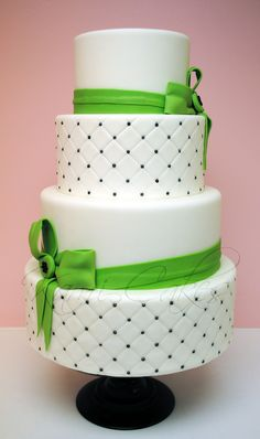 Round Wedding Cakes -quilted, black dots, with lime green accents