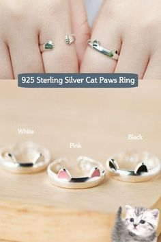 The Cat Paws Ring is handmade from Sterling Silver, and its lovely design will be sure to bring a smile to any cat lover. Four colors available. Get Yours Here http://owlj.com: