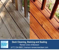 http://branson.renewcrewclean.com – Renew Crew of Branson's deck cleaning process begins with cleaning the wood to remove dirt, mold and grim. Then we apply a professional wood stain and sealant to protect the wood for a great looking deck. We serve Branson and surrounding areas. Free estimates.