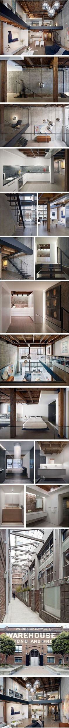 Interior design and architecture for a loft unit in San Francisco's Oriental Warehouse, Building by Edmonds + Lee Architects Warehouse Living, Warehouse Loft, Warehouse Design, Industrial House, Industrial Interiors, Industrial Style, Loft Interiors, Vintage Industrial, Industrial Design