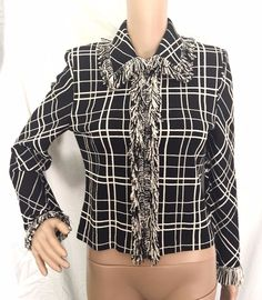St. John Collection Knit Black & Ivory Plaid Print Jacket Size 2 -  EUC #StJohn #Blazer