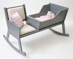 Perfect baby cradle. Mom can rock baby and read her book