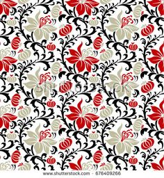Vintage Flowers Seamless Pattern On Navy Stock-Vektorgrafik (Lizenzfrei) 676409266 Batik Pattern, Navy Background, Vintage Flowers, Textile Design, Illustration, Digital Prints, Textiles, Concept, Quilts