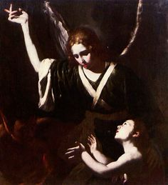 Bernardo Cavallino (Italian, 1616–1656), THE ANGEL, THE DEVIL AND A CHILD. Oil on Canvas, 101 x 93.5 cm. (39.8 x 36.8 in.)