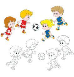 Children playing football vector - by AlexBannykh on VectorStock®