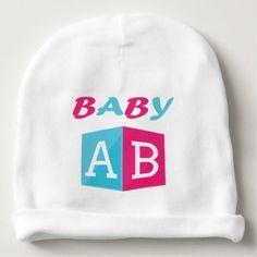 Baby ABC Block Baby Beanie - kids kid child gift idea diy personalize design