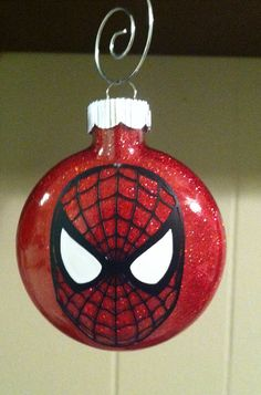 SpiderMan glitter ornament by ABsoutherndesigns on Etsy, $8.00