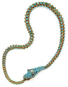 Gold, Turquoise, Diamond and Garnet Snake Necklace, Circa 1860