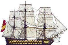Navio Santa Ana. En 1810 se trasladó a La Habana junto con el navío Príncipe de Asturias para estar más seguro durante la guerra contra los franceses, en cuyo arsenal se fue a pique en 1816 por falta de carena, debido a los efectos colaterales e indeseables de la propia Guerra de la Independencia. En 1834 todavía se le podía ver junto al Príncipe de Asturias, también ido a pique, hundidos en el fango frente al arsenal. Battle Of Lepanto, Ship Drawing, Ship Of The Line, Ship Paintings, Santa Ana, Vintage Boats, Sailing Ships, Sailing Boat, Hampton Roads