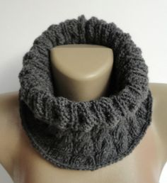 gray cowl ,unisex - neckwarmer - smoked scarf ,knitting scarves ,infinity scarf ,circle cowl