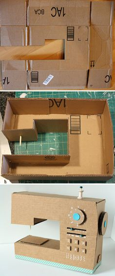 How to Make Cardboard Box Sewing Machine - DIY & Crafts - Handimania Cardboard Box Crafts, Cardboard Sculpture, Cardboard Crafts, Sewing Machines Best, Sewing Room Organization, Sewing Box, Diy Box, Diy For Kids, Sewing Projects