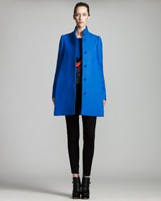 Stella McCartney Stand-Collar Coat, Cashmere Knit Sweater & Zip-Cuff Denim Leggings