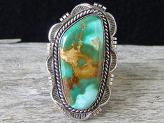 Ring | Cecil Atencio.  Sterling silver and  Royston Turquoise.