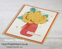 Thank You Card. Handmade using Wild Rose Dies, Jar Punch, Blossoms in Bloom Stamp Set, In Color, Ornate Garden Ribbon Combo Pack, Gold Glitter Enamel Dots and Stampin' Cut & Emboss Machine from Stampin' Up! Visit www.hippofrogdesigns.co.uk for more project ideas. Class Projects, Gold Glitter, Thank You Cards, Stampin Up, Dots, Bloom, Paper Crafts, Jar, Emboss