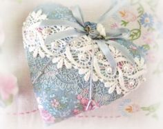 Sachet Heart Heart Sachet 5 inch Blue and Pink by CharlotteStyle Vintage Valentines, Valentine Crafts, Christmas Crafts, Sewing Crafts, Sewing Projects, Fabric Hearts, Lavender Buds, Hanging Hearts, Vintage Crafts