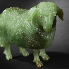 Faberge Animal Carvings | Carved nephrite jade sheep, eyes ornated with ruby cabochons.20th ...