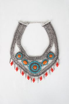 Edgy Tribal Statement Necklace and Earring Set