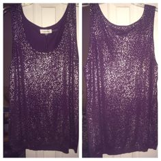 "NWT CALVIN Klein purple sparkle tank size XLHP HOST PICK 2/1/2015 New with tags beautiful shiny purple tank by designer Calvin Klein. Size Extra Large.  Color PLUM ABSOLUTELY NO TRADES, No Paypal, No Holds   TOP RATED SELLER   Please use the ""make offer"" button to negotiate for one item or I'll be glad to BUNDLE 2 or more items!  ✅✅Discounts given when bundling 2 or more items. ✅ ✳️✳️Posh Member since 1-4-2013✳️✳️ non smoking home  Calvin Klein Tops Tank Tops"