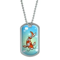 Koi Fish - Chinese Military Dog Tag Keychain, Adult Unisex, Silver