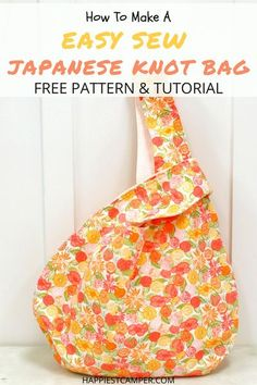 I love my new Japanese Knot Bag! It was simple and fun to make. I share with you step by step how to sew the Knot Bag and give you the pattern for free as well. Start making your new bag today. How to Make an Easy Sew Japanese Knot Bag with Free Pattern & Tutorial! Easy Sewing project that anyone can make.