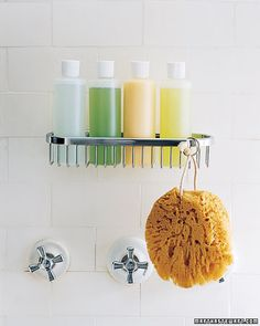Store toiletries in matching, clear bottles to keep a uniform look.