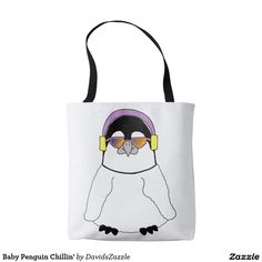 Baby Penguin Chillin' Tote Bag Available on more products, type in the name of this design in the search bar on my Zazzle Products page to see them all!  #penguin #bird #antarctica #illustration #cartoon #funny #cute #cuddle #baby #animal #ink #pen #digital #color #purple #yellow #black #red #humor #humorous #fun #bag #drawstring #tote #accessory #gear #life #style #fashion #apparel #carry #get #around