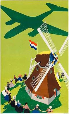 KLM Royal Dutch Airlines vintage travel poster windmill