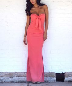 Abyss Coral Tie-Front Strapless Maxi Dress | zulily