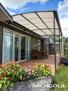 Looking to extend your living space? Add an Archgola to your home and it's like adding a new room, for a fraction of the price. Archgola awnings are custom-made to your style and budget. Customise your Archgola awning design, frame colours and roof tints, to achieve the shade and shelter you're looking for. Call us now on 0508 272 446 for a FREE measure & quote. New Zealand Architecture, Outdoor Awnings, Roof Shapes, Outdoor Shelters, Outdoor Shade, Garden Gates, Pool Ideas, Outdoor Areas, Outdoor Cooking