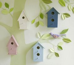 Eclectic Nursery Decor Wooden Bird Houses Hmmmm Not Sure About The Birdhouses