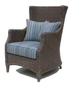 Outdoor Wicker Wing Chair #wicker #patio #furniture #wickerparadise #chair