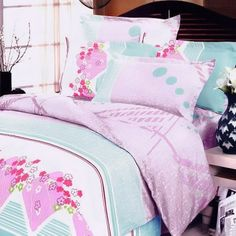 Cherry Blossom 100% Cotton 4PC Duvet Cover Set (King Size) - 4 Piece Duvet Comforter Cover Sets - Duvet Cover Sets