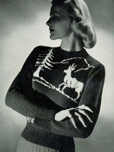 My goal - be good/comfortable enough with knitting to make myself some fabulous sweaters from vintage patterns.  Because every girl needs a winter deer sweater!
