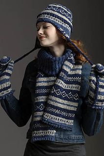 fair isle scarf and hat and mittens