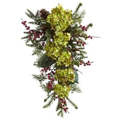 An inspired piece of floral decoration, this Hydrangea, Pine, Berry Teardrop will amaze every onlooker with its lifelike looks. Standing 26 x 14 x 7 , this green artificial garland is available in a pack of Artificial Hydrangeas, Artificial Plants, Beautiful Flower Arrangements, Beautiful Flowers, Floral Arrangements, Faux Flowers, Silk Flowers, Artificial Garland, Star Wars