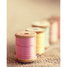 pink sewing room home decor pink yellow blue thread vintage wood... ($41) ❤ liked on Polyvore featuring home, home decor, wall art, photography wall art, yellow home accessories, photo wall art, blue home accessories and blue wall art