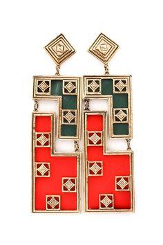 Poppy Klimtastic Statement Earrings on Emma Stine Limited