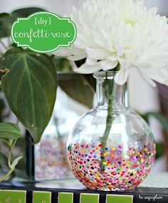 diy Anthropologie style Confetti Vases by hi sugarplum! (craft paint and toothpicks used to decorate)