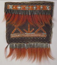 Shoulder bag pouch  Media/Materials:     Deerhide/deerskin, porcupine quills, deer hair, metal cones, dye/dyes  Object Type:     Bags/Pouches (and parts)  Date Created:     1760-1800  Catalog Number:     13/5886  Data Source:     National Museum of the American Indian