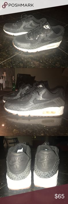BRAND NEW NIKE 90 AIR MAX SNEAKERS Never worn black Nike Air Max 90s sneakers with crocodile pattern Size 6 Nike Shoes Sneakers