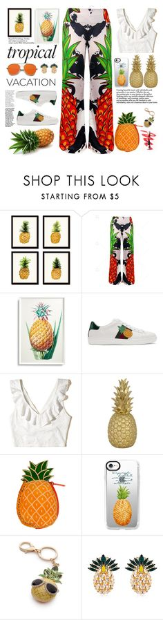 """fruit dely tropical"" by licethfashion on Polyvore featuring Frontgate, Gucci, Hollister Co., Goodnight Light, Casetify, New Directions and Anton Heunis"