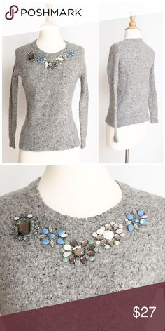 ⭐️J. Crew ⭐️Gemstone Wool Sweater Sweater has been gently worn but in great condition. The fabric content is 80% lambswool and 20% nylon. The bust measurement is approximately 17 inches across and the length is approximately 22 inches. J. Crew Sweaters Crew & Scoop Necks