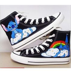 Hand Painted Shoes XT02 Lilo and Stitch Hand-painted Canvas Shoe,High-top Painted Canvas Shoes