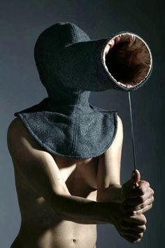 Oooh, look! Q*bert! Focus hood by Clarina Benzzola - part of every introvert's winter wardrobe.