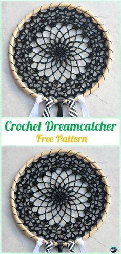 Crochet Dream Catcher & SunCatcher Free Patterns: A collection of crochet dream catchers, suncatchers, crochet rounds and mandalas.Cool Crochet Dreamcatcher Pattern - Coole Dromenvanger Haakpatroon (Bees and Appletrees) Catch these amzing free patter Crochet Diy, Crochet Home Decor, Crochet Round, Crochet Gifts, Crochet Doilies, Simple Crochet, Crochet Ideas, Pinterest Crochet, Crochet Mandala Pattern