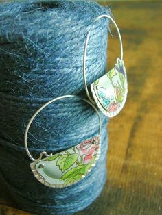 Earrings.+Recycled+tin+with+Silver.+Sugar+floral+half+by+fluxplay